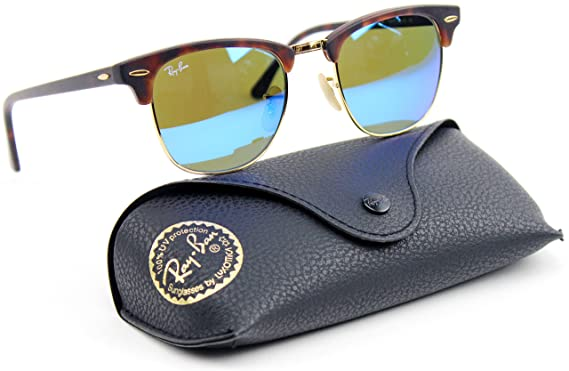 87a2f87e10 Ray Ban RB3016 1145 17 51mm Clubmaster Sunglasses Havana   Gray Mirror Blue  Lens.