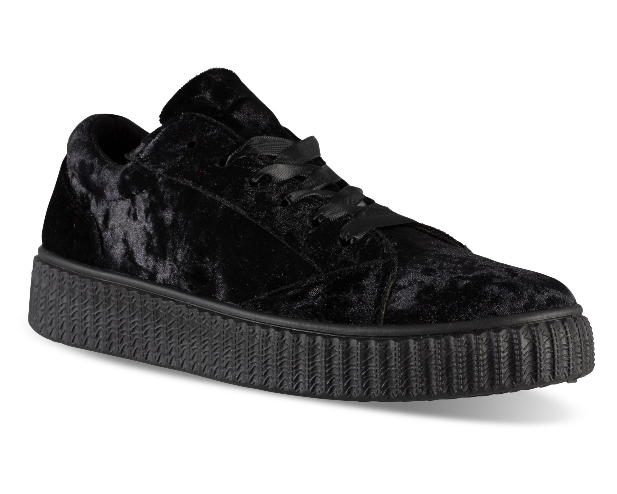 Twisted Women's Olivia Velvet Platform Creeper Fashion Sneaker - OLIVIA02 Black, Size 9