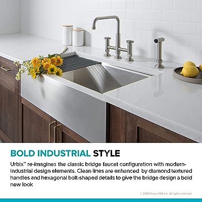 Buy Kraus Kpf 3125sfs Urbix Industrial Bridge Kitchen Faucet With Side Sprayer Spot Free Stainless Steel Online In Indonesia B08512g5bh