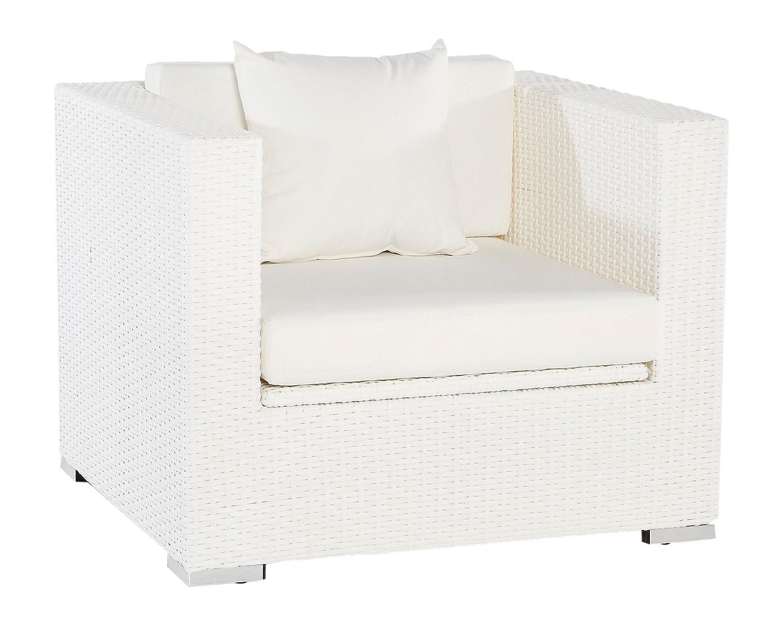 OUTFLEXX Sessel aus Polyrattan mit Kissenboxfunktion inkl. Polster und Kissen in weiß