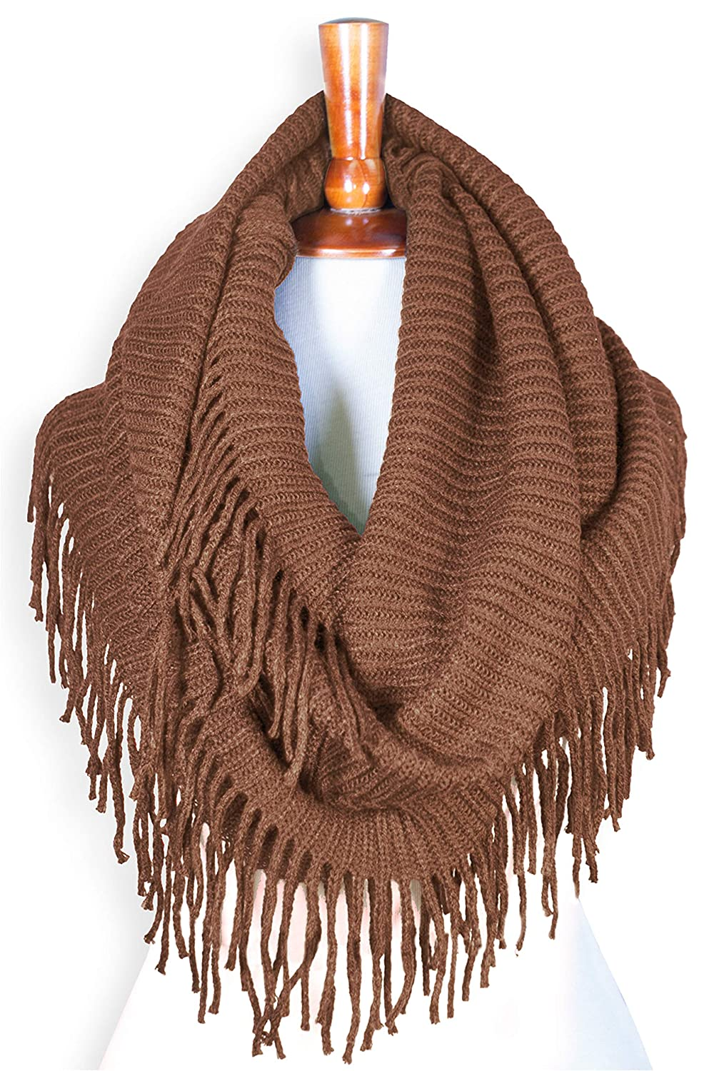 Basico Women Winter Warm Knit Infinity Scarf Tassels Soft Shawl Various Colors