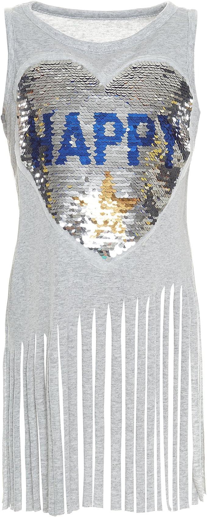 BEZLIT - Camisa deportiva - Blusa - Rayas - Cuello redondo - Sin mangas - para niña gris 10 años: Amazon.es: Ropa y accesorios