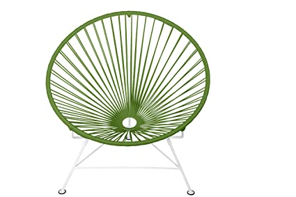 Innit Designs Baby Acapulco Chair, Olive Weave On White Frame