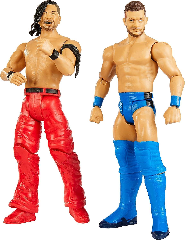 Mattel WWE-Pack de 2 Figuras de acción Luchadores Finn Balor vs Shinsuke Nakamura, Multicolor GBN58