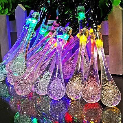 20 LED Raindrop Teardrop Solar Powered String Fairy Lights Outdoor Garden Party