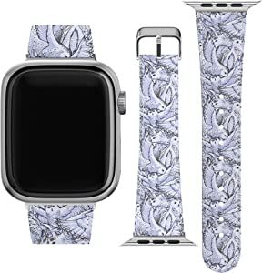 Lex Altern Band Compatible with Apple Watch Series 6 SE 5 4 3 2 1 38mm 40mm 42mm 44mm White Wristband Replacement Strap for iWatch Animal Snowy Owls Feathers Vegan Leather Birds Polar Print wh190