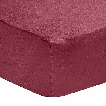 Homescapes Drap Housse Bordeaux de Luxe pour 2 personnes de 200 x