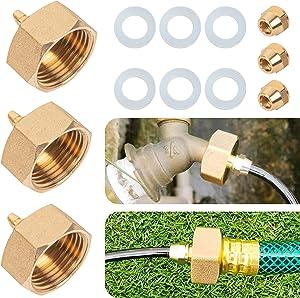 Hourleey Garden Hose Adapter, Brass Standard 3/4