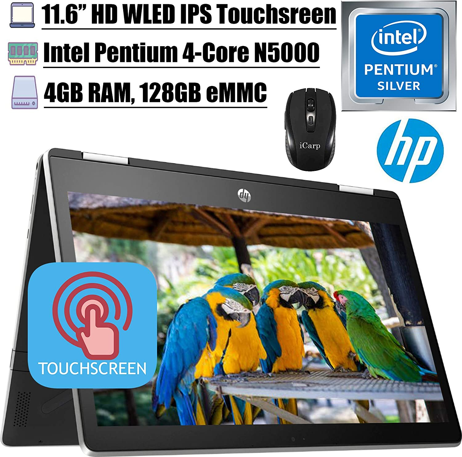 "2020 Latest HP Pavilion X360 11 2 in 1 Laptop 11.6"" HD IPS Touchscreen Intel Quad-Core Pentium Silver N5000 4GB DDR4 128GB eMMC Card HP Audio Boost WiFi HDMI + iCarp Wireless Mouse"