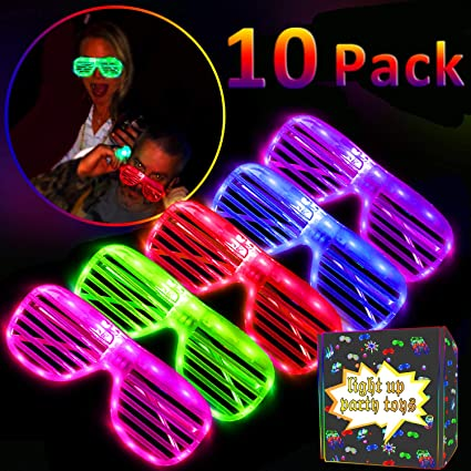 10 Pack LED Glasses   Kids Party Favors - Light Up Toys Glow in the Dark  Eye Mask Party Supplies for Kids Girls Boys Teens Men Women Fun Flashing  Novelty ... bf032db355