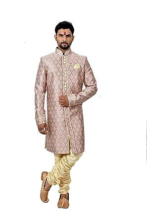 4df03f1d233 Amazon.com  Multi Dupiondohra Brocade Silk Traditional Indian Wedding  Indo-Western Sherwani for Men  Clothing