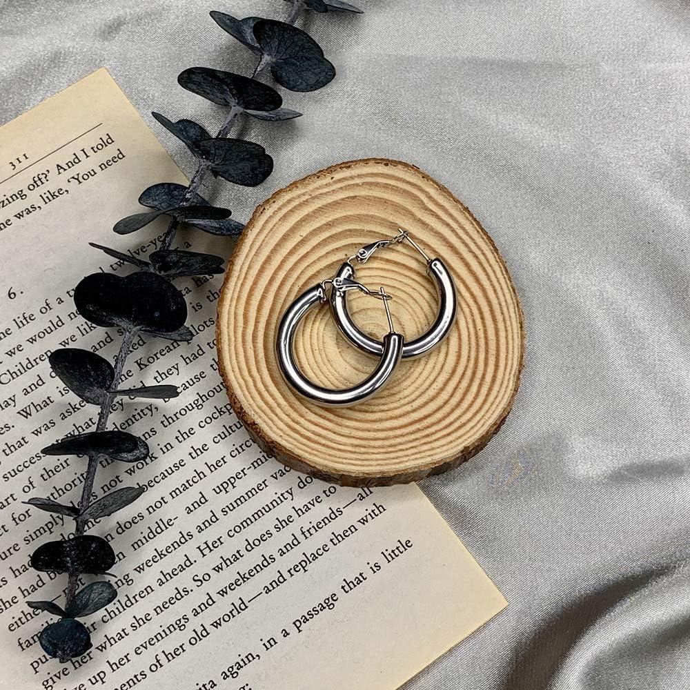 MERUNOW 14K Gold Plated Thick Hoop Earrings Lightweight Chunky Gold Hoops Earrings for Women