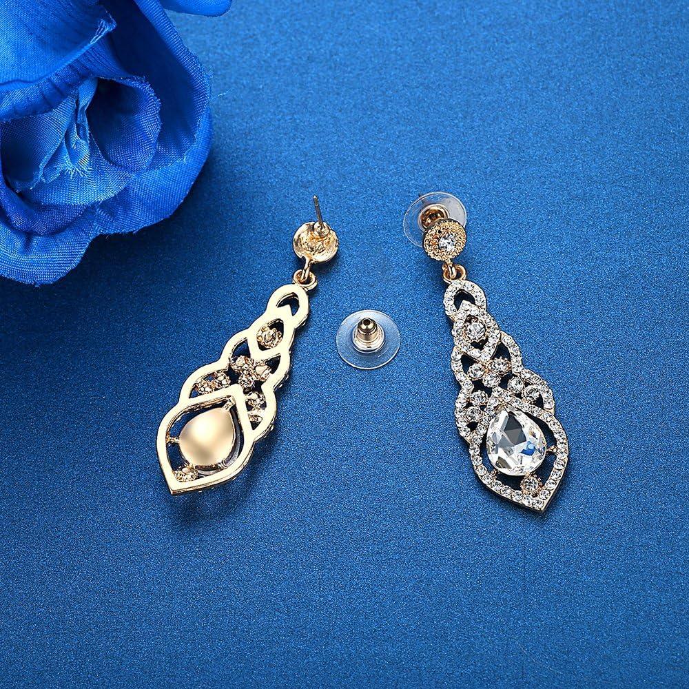 Mecresh Cristal De Mariage Boucles Doreilles Pour Les Femmes Argent Noir Or Couleur Bridal Dangle Boucle Doreille /À La Mode Bijoux Cadeau