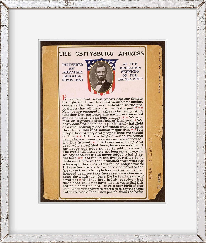 Abraham Lincoln November 19 INFINITE PHOTOGRAPHS Photo: The Gettysburg Address 1863 Historic Photo Reproduction