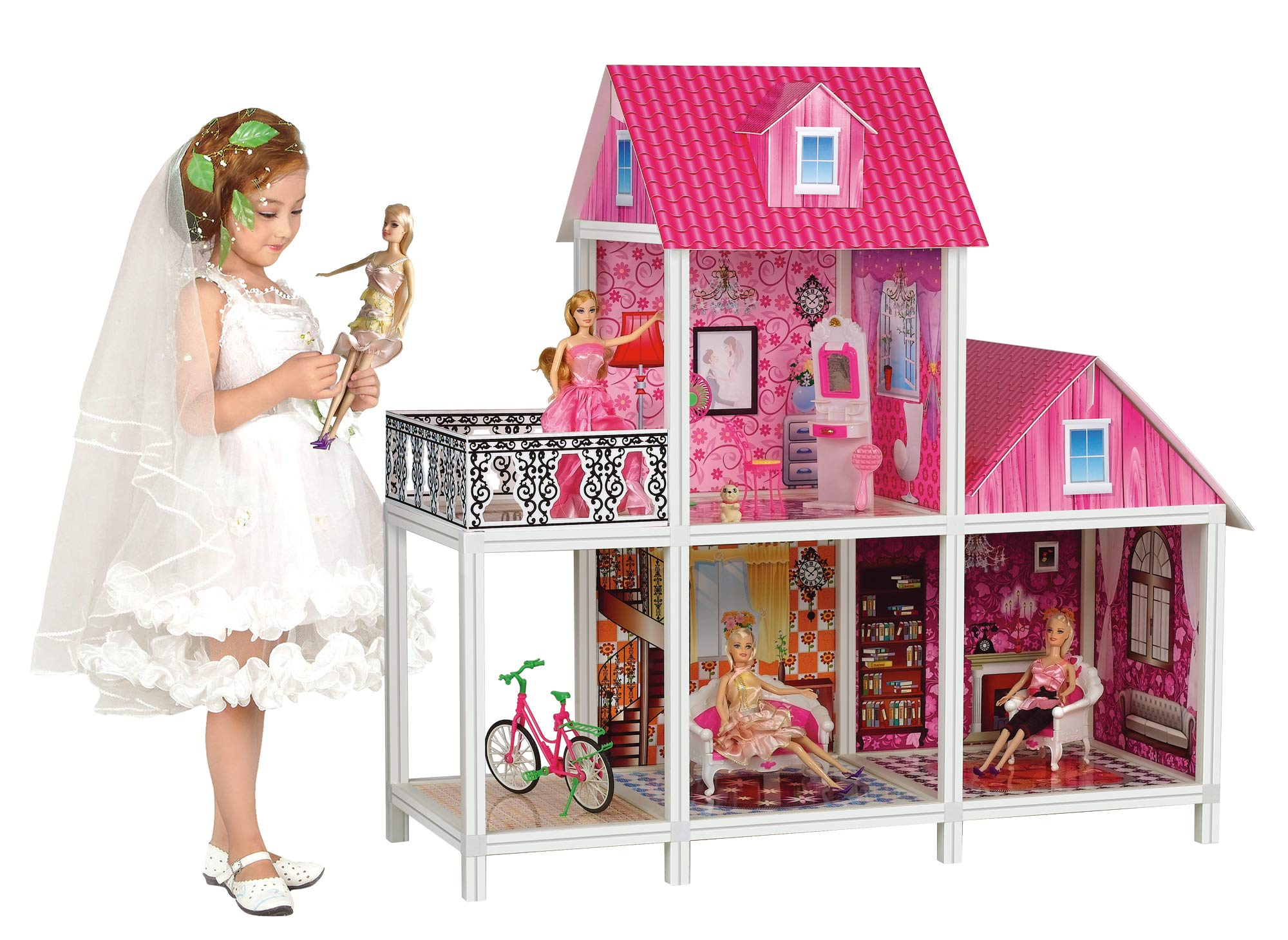 Bettina 39'' Large Plastic Dollhouse with 3 Dolls, Big Playhouse Set with Furniture, Pink by Bettina (Image #1)