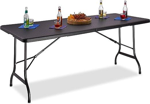 Relaxdays Table De Jardin Pliable Bastian Optique Rotin Grande Table Pliante Poignées Camping Pique Nique Hxlxp 72 X 178 X 74 Cm Noir