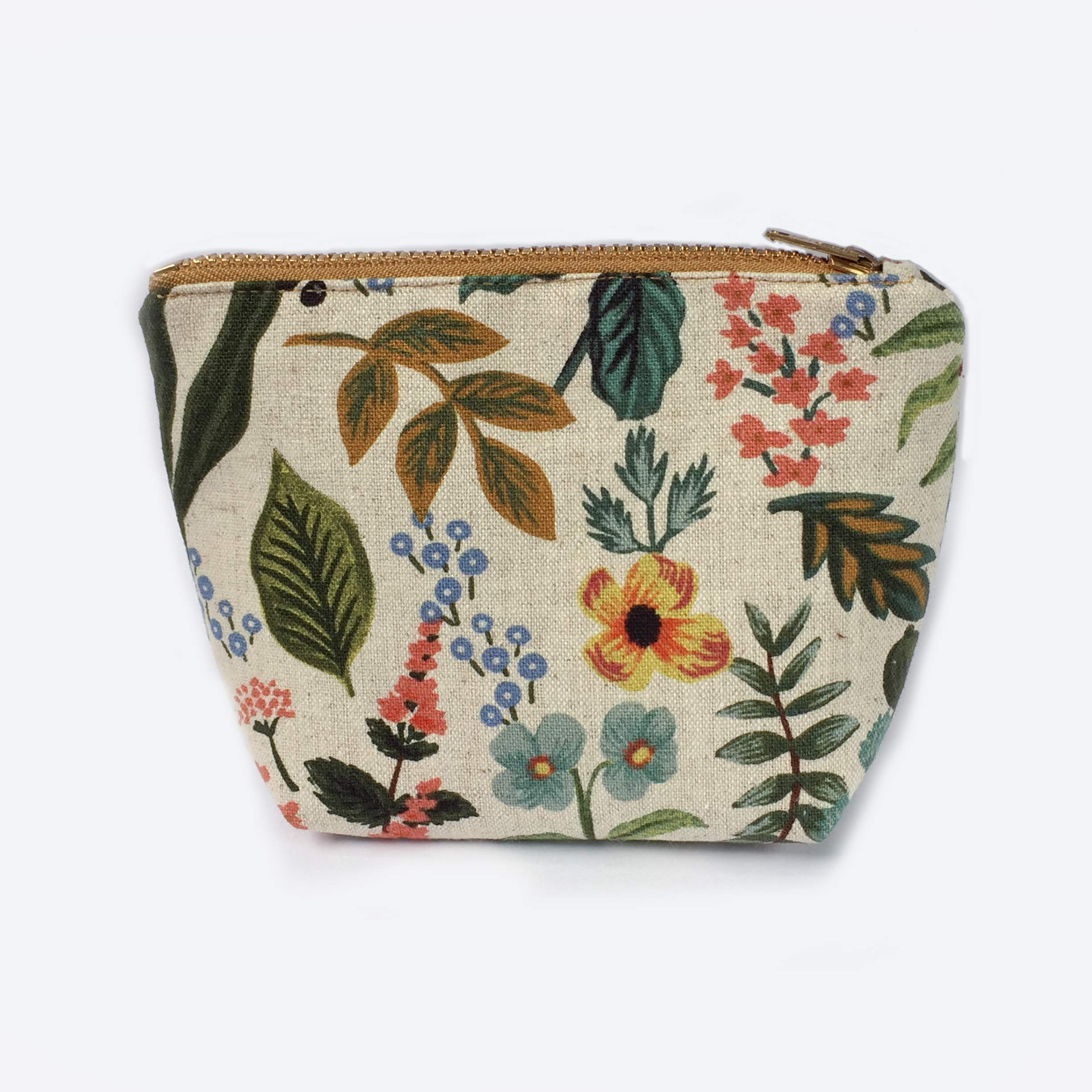 Floral Coin Pouch, Garden Zipper Pouch Canvas Makeup Bag Small, Gifts for Women