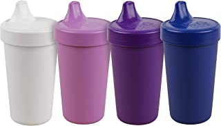 product image for Re-Play Made in The USA 4pk No Spill Cups for Baby, Toddler, and Child Feeding in White, Purple, Amethyst and Navy | Made from Eco Friendly Heavyweight Recycled Milk Jugs | (Violet+)