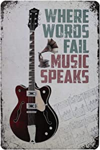 ARTCLUB Where Words Fail Music Speaks, Metal Tin Sign, Vintage Plaque Poster Bar Home Wall Decor
