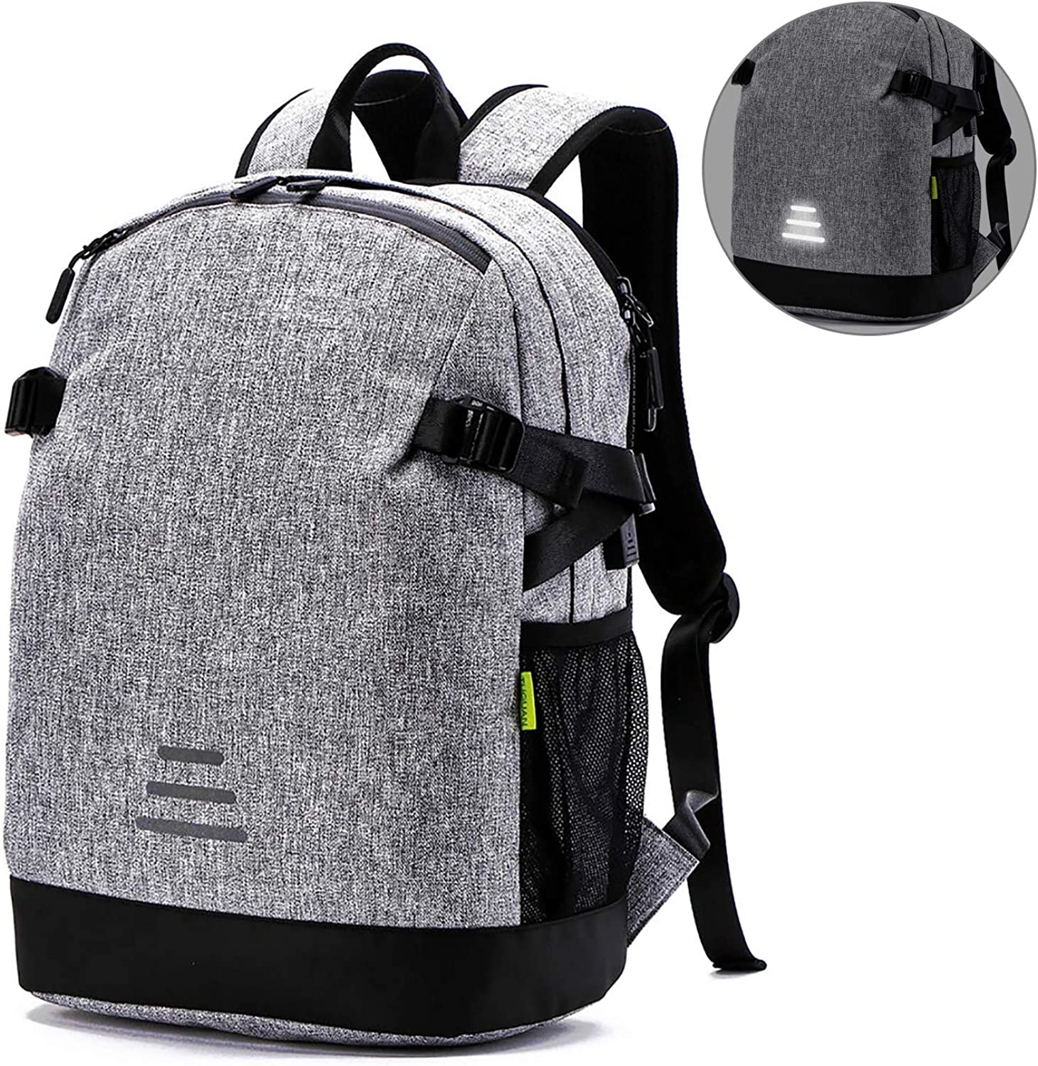 Laptop Backpack,Computer Backpack with USB Charging Port and Reflective Stripe,Water Resistant 15.6 Inch Travel Business Notebook Daypack for Women Men-Grey