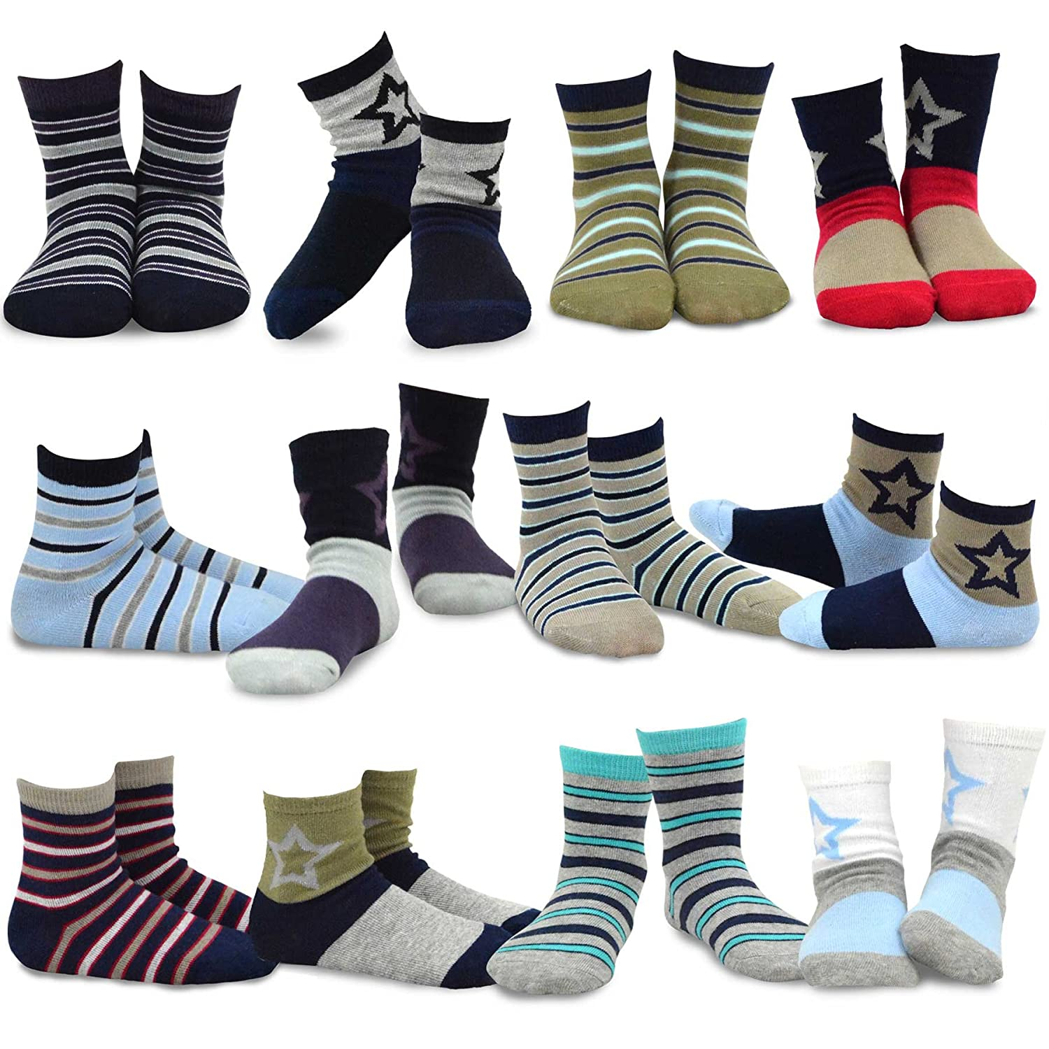 TeeHee Naartjie Kids Boys Cotton Fun Crew Socks 12 Pair Pack