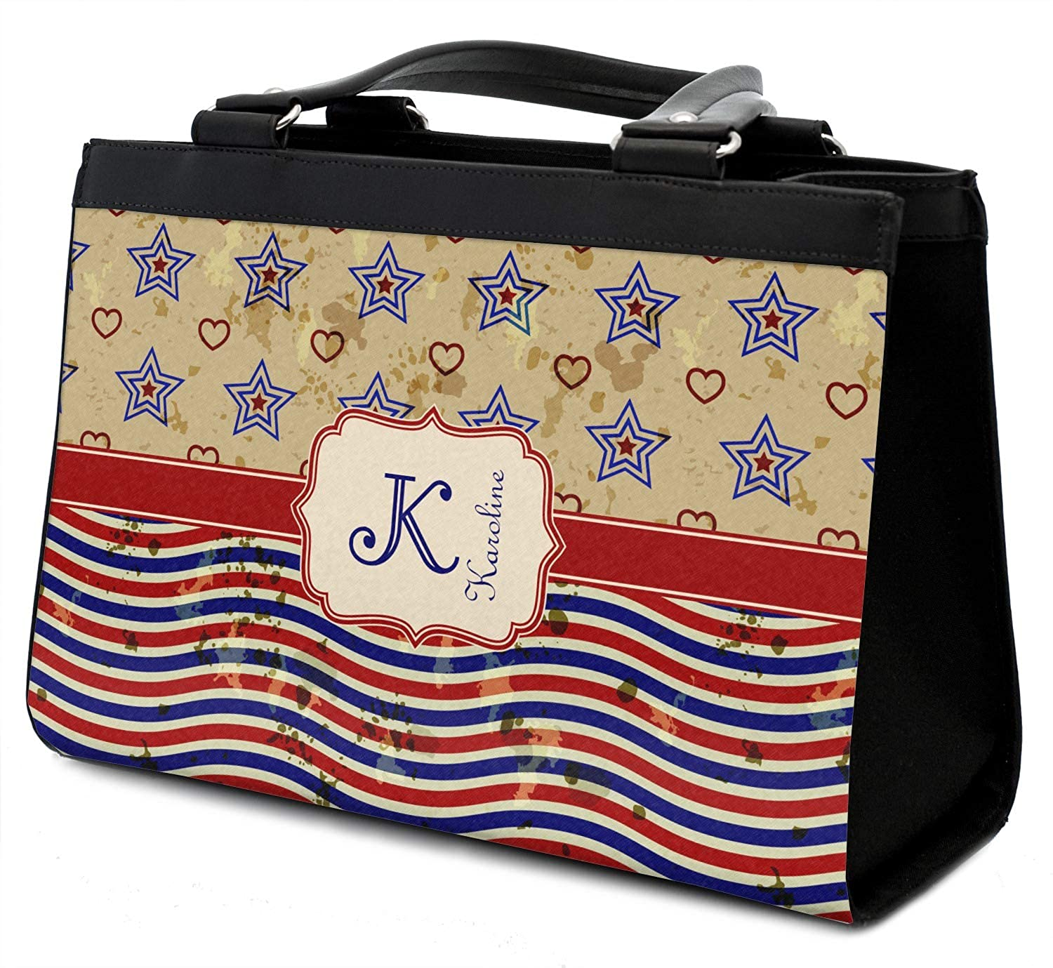 Personalized Vintage Stars /& Stripes Classic Tote Purse w//Leather Trim Front /& Back