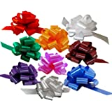 "Christmas Gift Wrap Pull Bows - 5"" Wide, Set of 9, Red, Green, Blue, Gold, White, Silver, Birthday Ribbons"