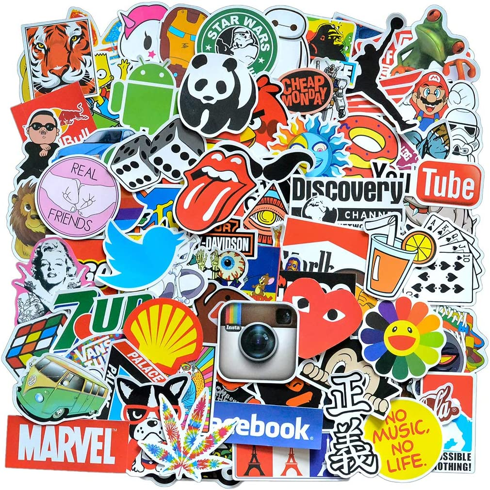 Stickers Pack Cool, 100 Pcs Vinyl Waterproof Stickers, for Laptop Luggage Guitar Phone Skateboard Car Motorcycle Bicycle Water Bottles Sticker (E)