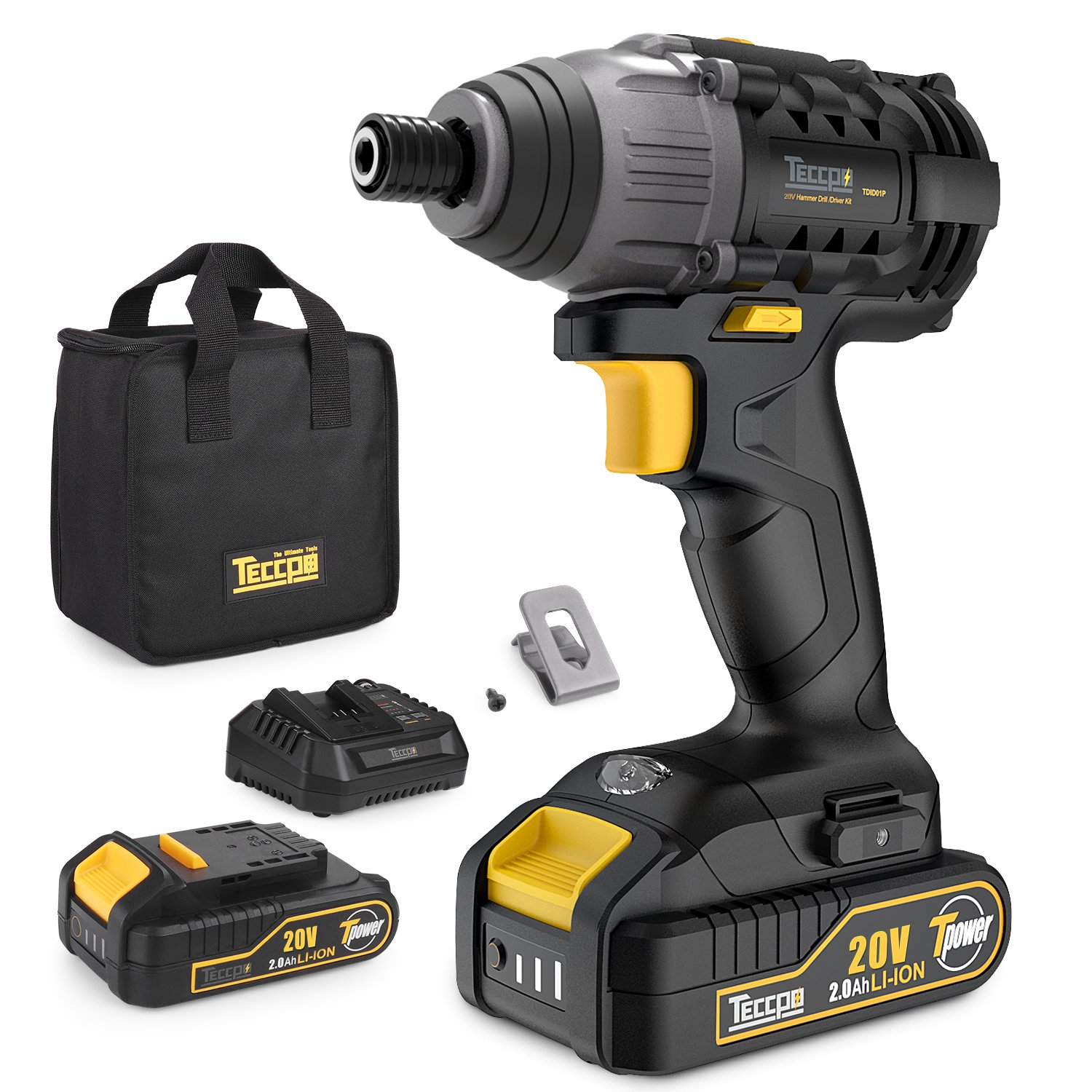 Impact Driver, 2pcs 2.0Ah Lithium Ion Batteries, 1/4'' Hex Chuck 20V Cordless Impact Driver, 30 Minutes Fast Charger, 1600In-lbs Max Torque, 2900RPM Max Speed-TECCPO TDID01P
