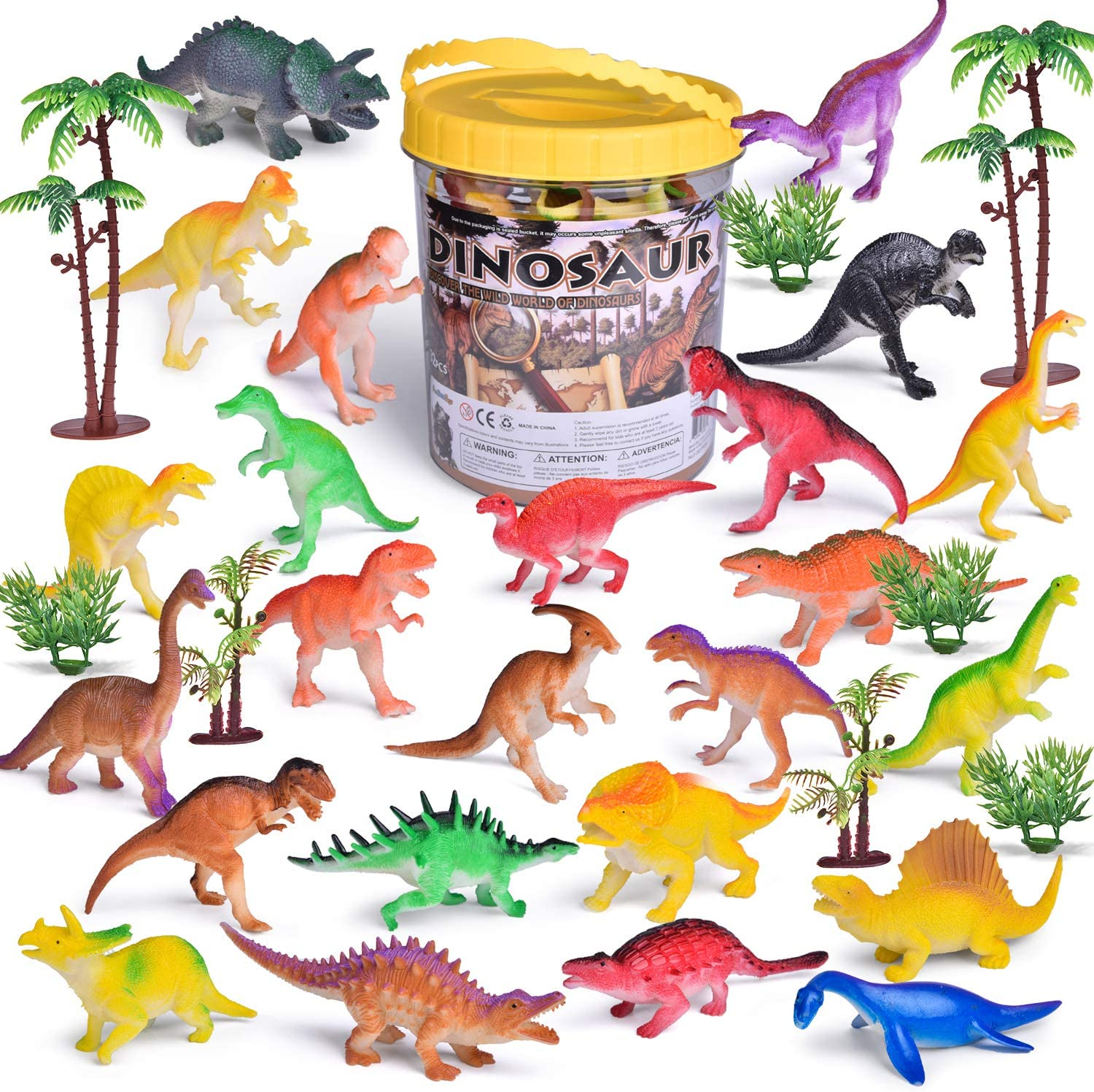 Easter Fun Toys for Kids 12 Pack Mini Dinosaur Animals Filled Colorful Easter Eggs Goody Bag Fillers Rewards Party Favors