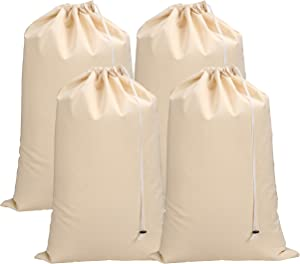 Light & Pro Heavy Duty Laundry Bag,Canvas Laundry Bags,Cotton Laundry Bag with Drawstrings, Easy to Carry,Washable Laundry Bag,Santa Bag,Laundry Hamper Bags 24x36 inch -Natural - Pack of 4