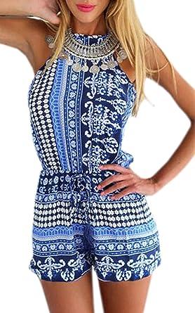 Zeagoo Sommer Overall Damen sexy elegant Jumpsuit kurz Kleider  Amazon.de   Bekleidung 8338f60c9f