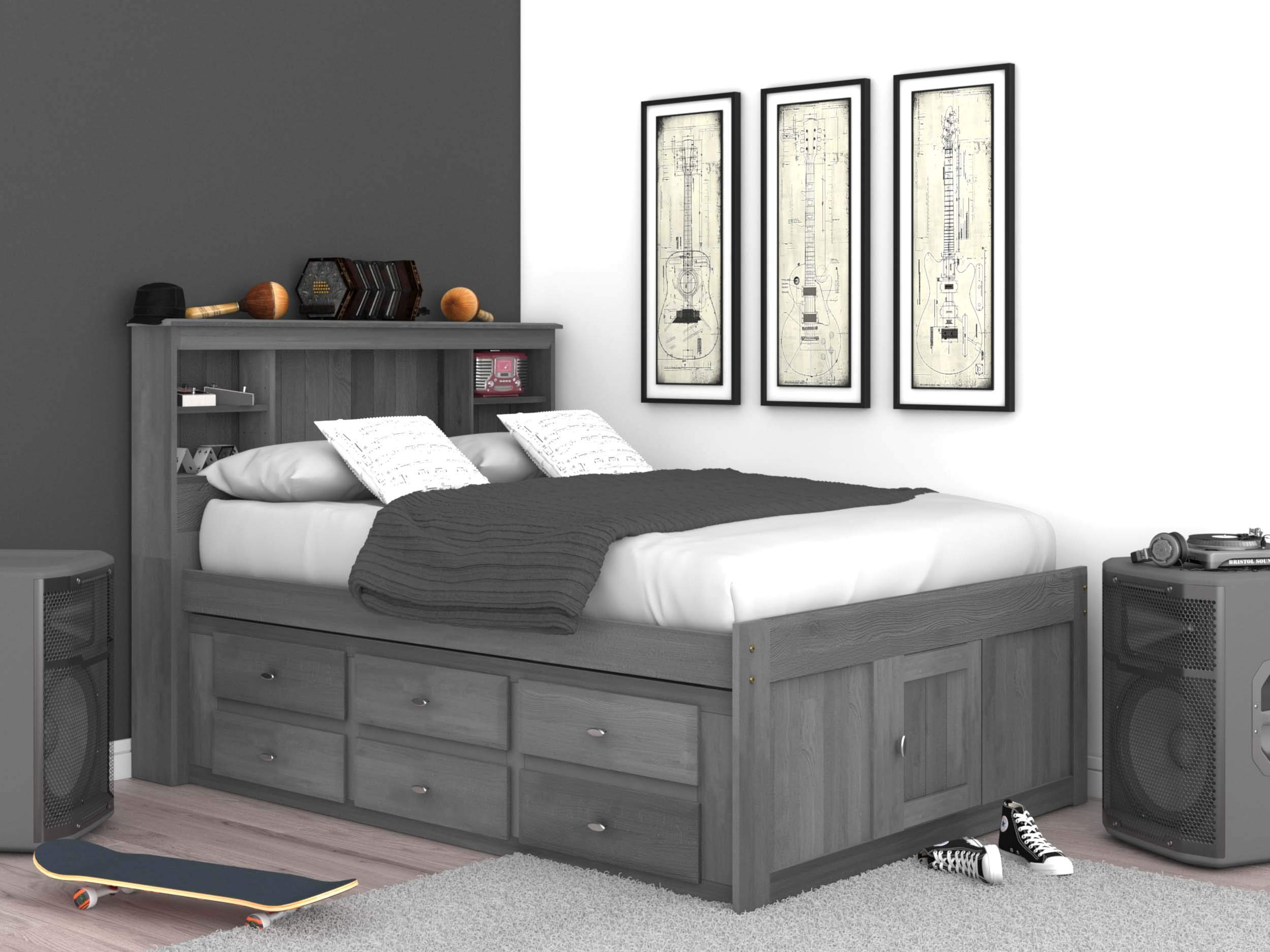 Discovery World Furniture Charcoal Full Bookcase Bed with 6 Drawers by Discovery World Furniture