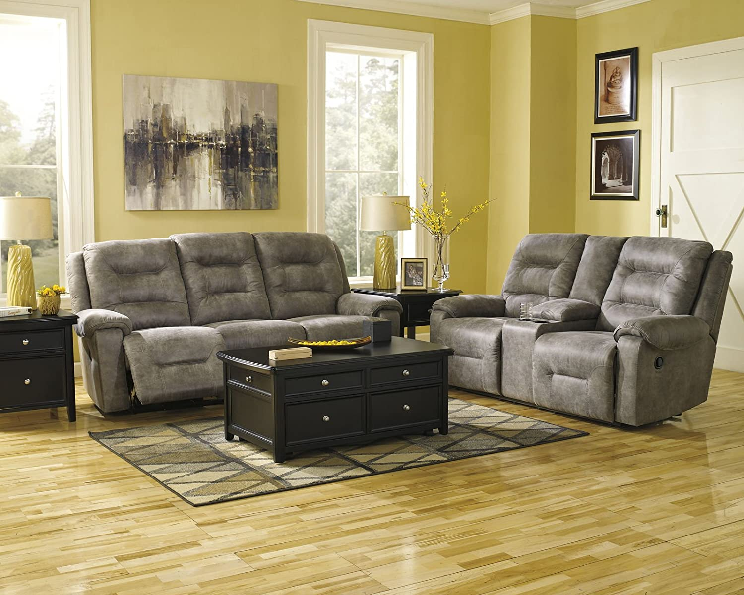 Amazon.com: Ashley Furniture Signature Design   Rotation Recliner Sofa    Manual Reclining Couch   Smoke Gray: Kitchen U0026 Dining