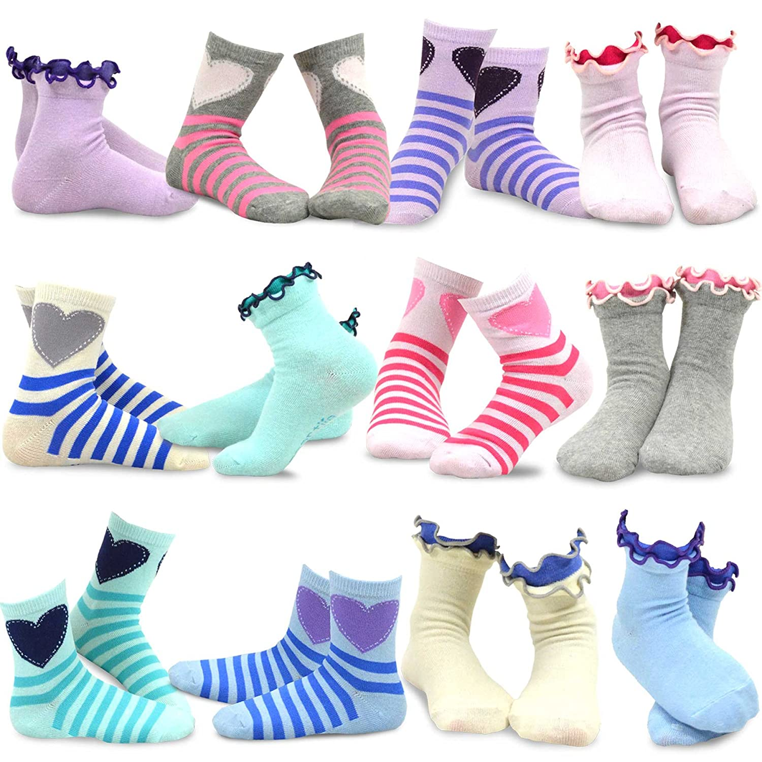 TeeHee Kids Girls Cotton Basic Crew Socks 12 Pair Pack Naartjie