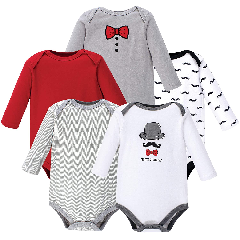 5-Pack Hudson Baby Boy Long-Sleeve Bodysuits Perfect Gentleman