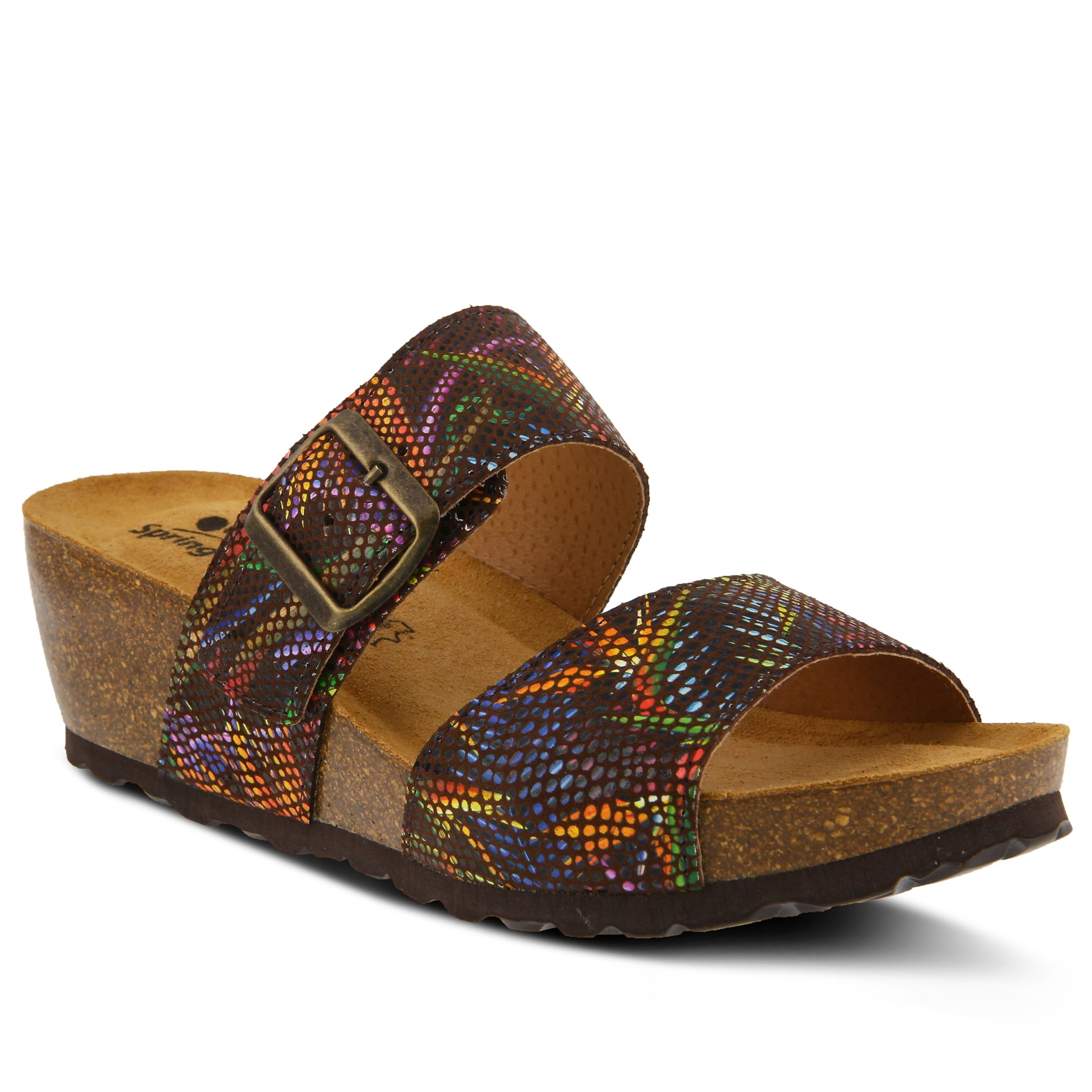 Spring Step Women's Style Barnabas Black Multi EURO Size 36 Leather Slide Sandal