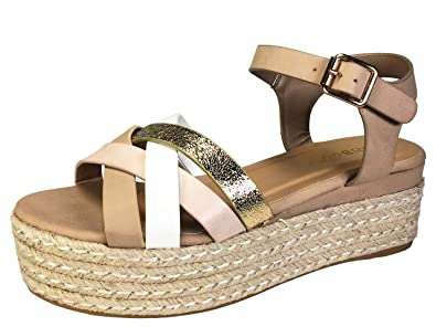 5f879f04cb7d Amazon.com  BAMBOO Women s Multi Cross Band Espadrilles Platform Sandal  with Quarter Strap  Shoes