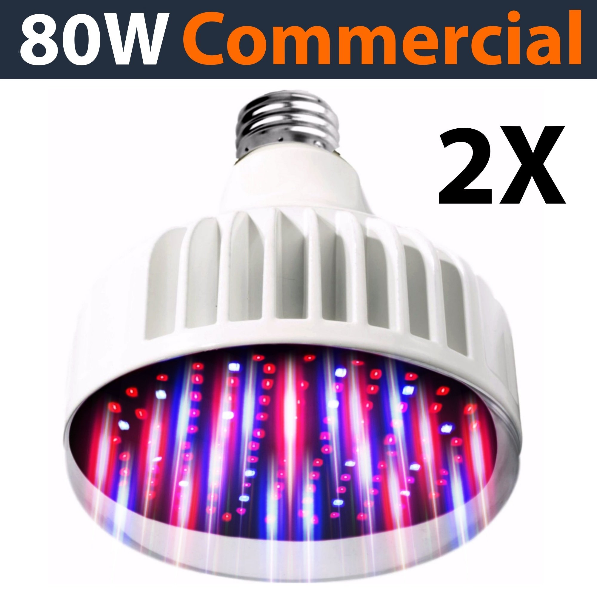 Lighting Labs Pro Grow Series - LED Grow Bulb - 2 PK, 80 Watt Output from two 40 Watt bulbs, Full Spectrum, Red and Blue tuned for maximum flowering, hydroponic indoor, E27, 120-277V, Clear Cover