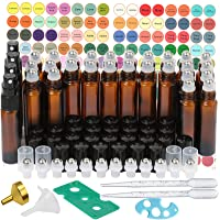 Essential Oil Roller Bottles,30 Pack 10ml Cobalt Blue Glass Roller Bottles with Stainless Steel Roller Balls(4 Extra Spray,3 Extra Roller Balls,3 Dropper,2 Funnel,2 Opener,394 Label)
