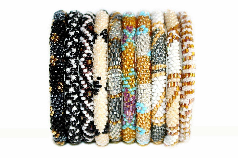 Nepal Roll On Bracelets Assorted Set of 6 METALLIC/NEUTRALS Glass Seed Bead Bracelets Wholesale