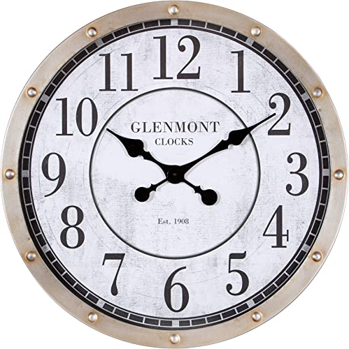 Patton Wall Decor 24 Glenmont Rustic Port Hole Brushed Silver Metal Round Wall Clock,