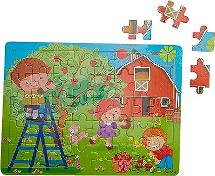 Tiny Souls Wooden Puzzle Apple Garden, 2 Boys, 1 Girl