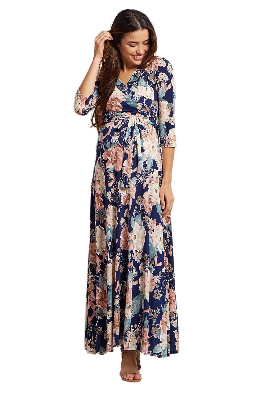 3b6ea2879e5 PinkBlush Maternity Navy Blue Floral Sash Tie Maxi Dress