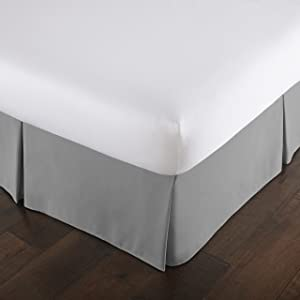 Southshore Fine Linens - VILANO Springs - 15 inch Drop Pleated Bed Skirt, Steel Grey, California King