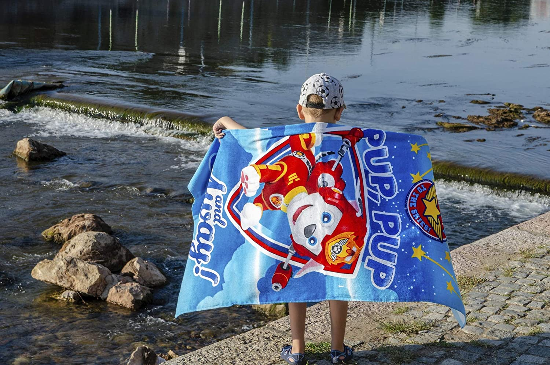 Azul Claro Chase 140 cm x 70 cm Paw Patrol Toalla de Playa Rubble and Marshall para Ni/ños 17/% poli/éster Toalla de Ba/ño 83/% Algod/ón