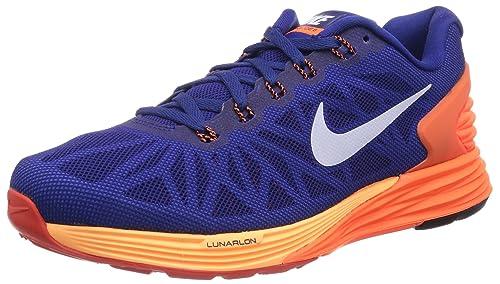 20ae184de7554 Nike Lunar Glide 6 Men s Deep Royal Blue   Hyper Crimson Running Shoes- ...