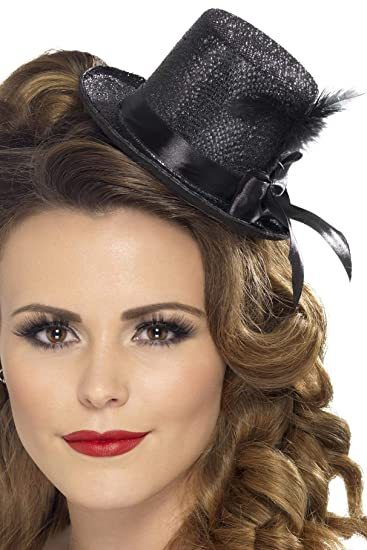 d2d7fade80a Amazon.com  Smiffy s Fever Women s Mini Top hat with Black Ribbon and  Feather Black One Size 28447  Clothing