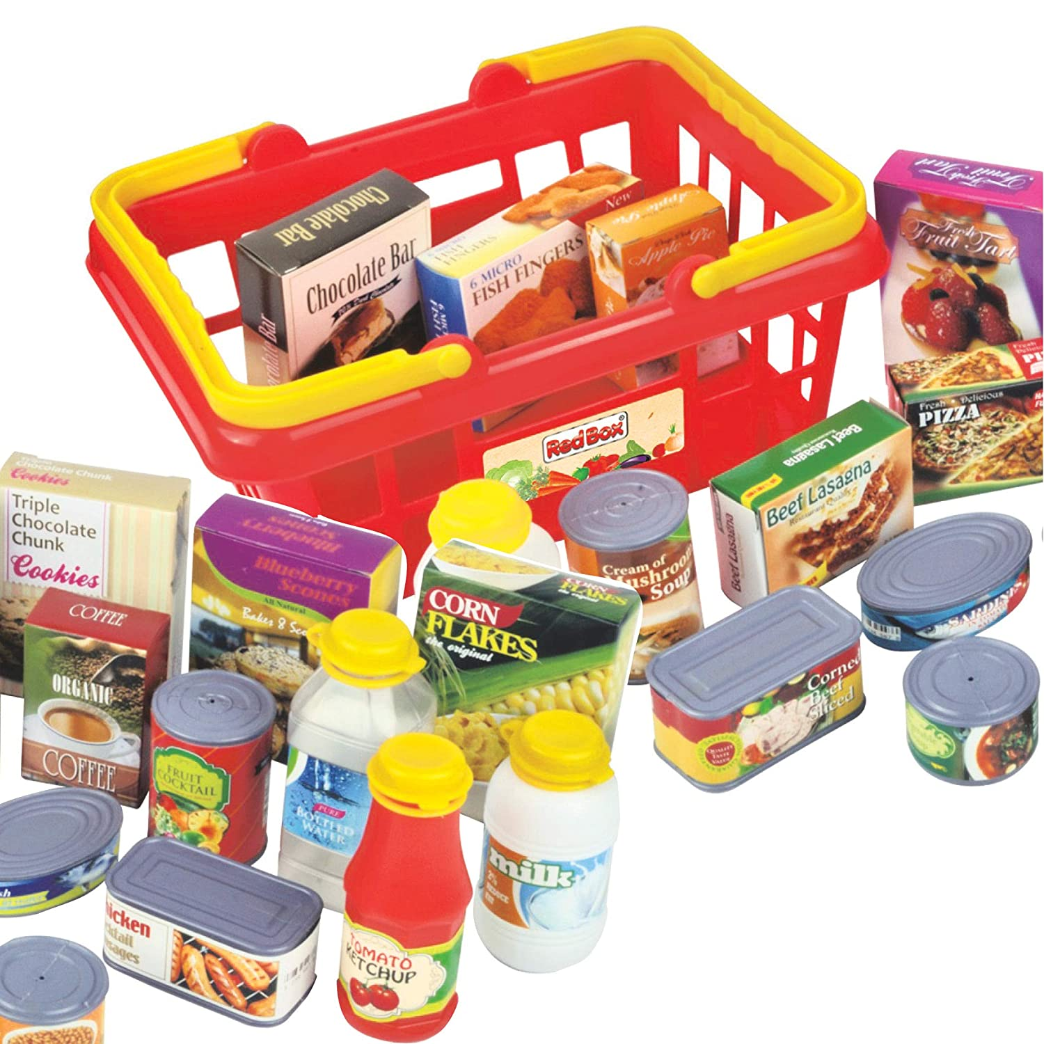 Constructive Playthings RED-162 Play Food Basket for Children