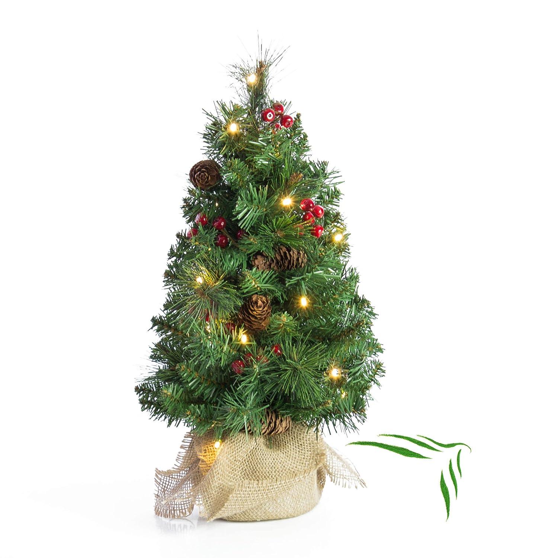 artplants Künstlicher Mini Weihnachtsbaum BUKAREST mit LED's, geschmückt, 75 Zweige, 45 cm, Ø 25 cm - Kunst Tannenbaum/Deko Christbaum geschmückt